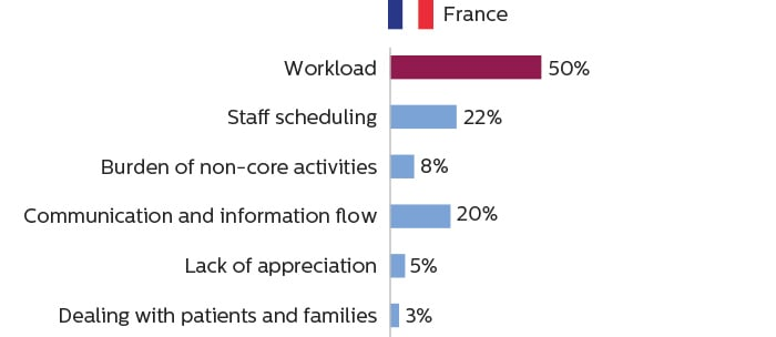 Bar charts showing that imaging staff in France consider workload to be the primary cause of work stress